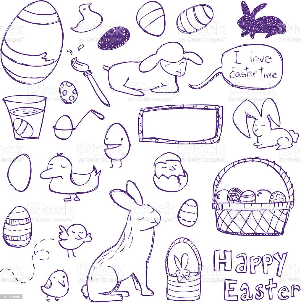 A cartoon drawing of Easter fun royalty-free stock vector art