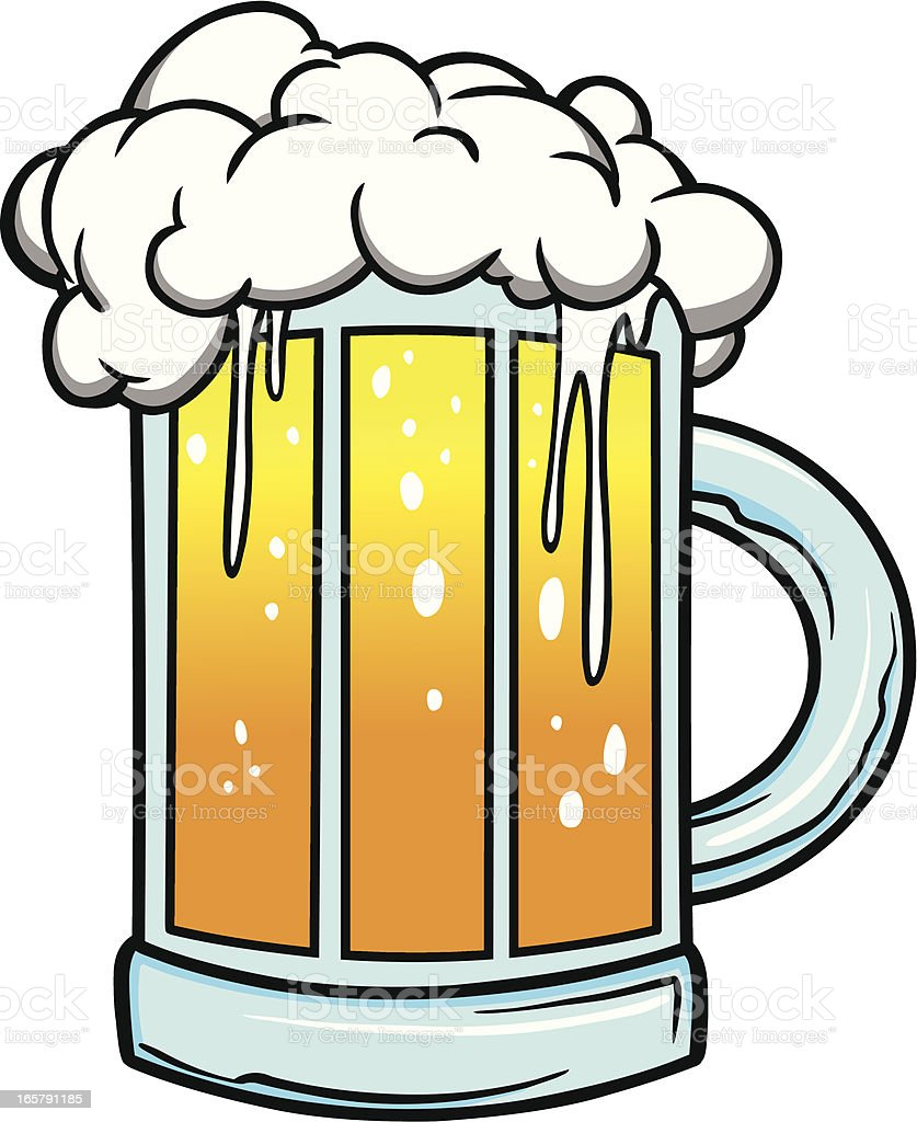 One Line Art Beer : Cartoon drawing of foaming mug beer stock vector art