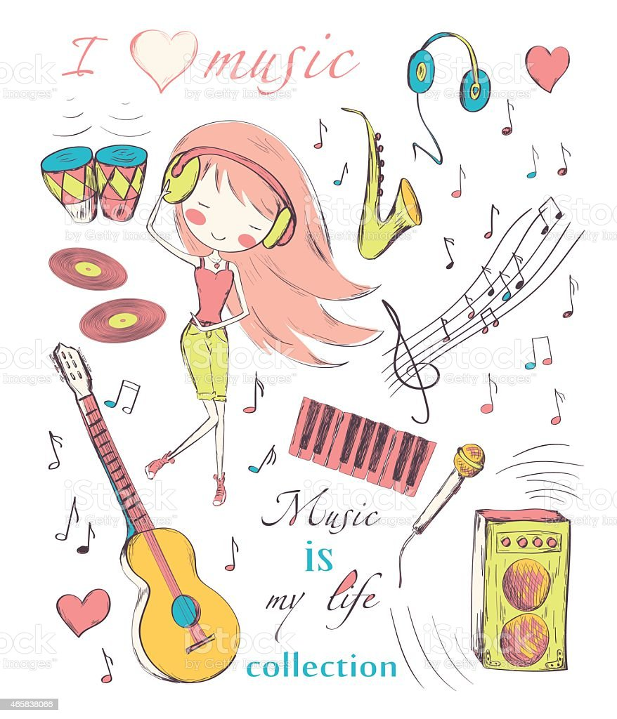 Cartoon drawing of girl with music symbols and instruments vector art illustration