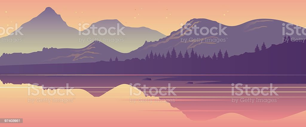 Cartoon drawing of Mountain Lake vector art illustration