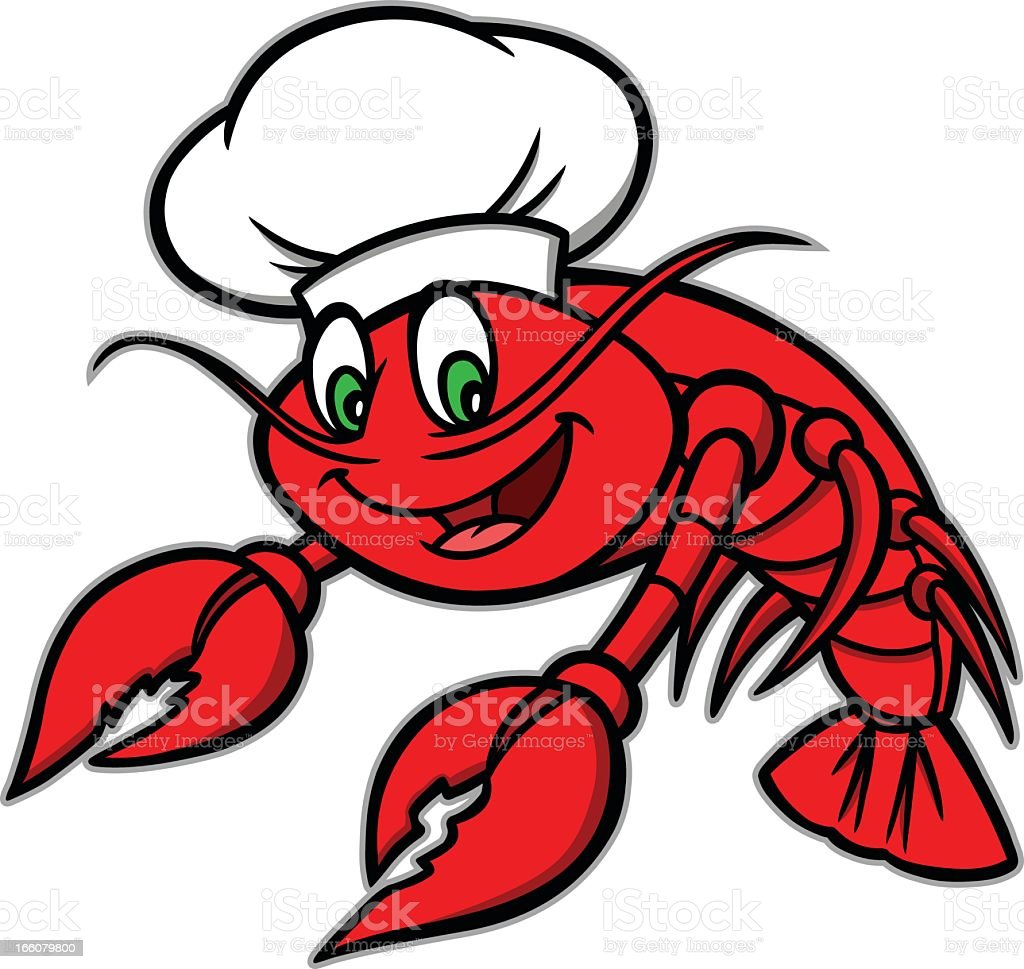 Cartoon drawing of red crawfish wearing chef's hat royalty-free stock vector art