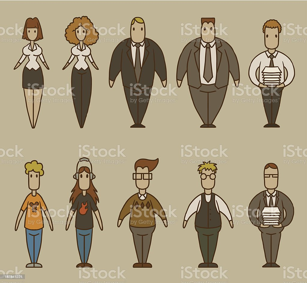 Cartoon drawings of people working in an office royalty-free stock vector art