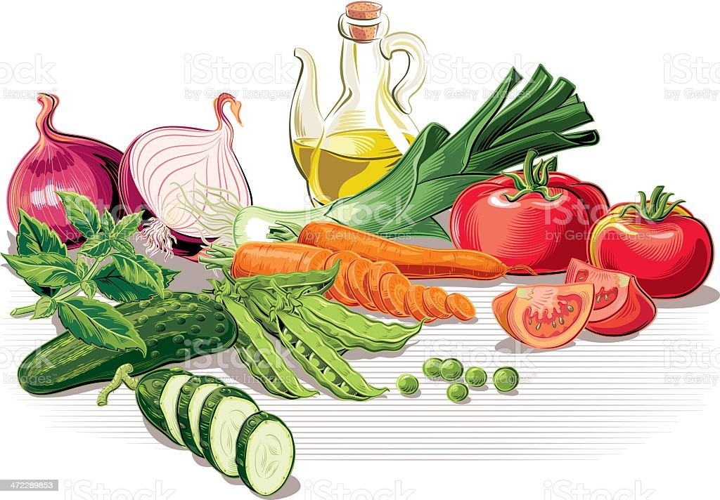 Cartoon drawn fresh vegetables and oil used in salads vector art illustration