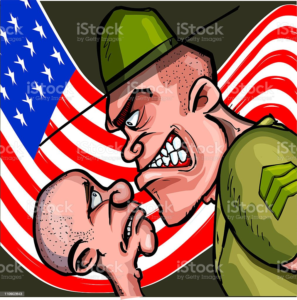 Cartoon Drill Sargent royalty-free stock vector art