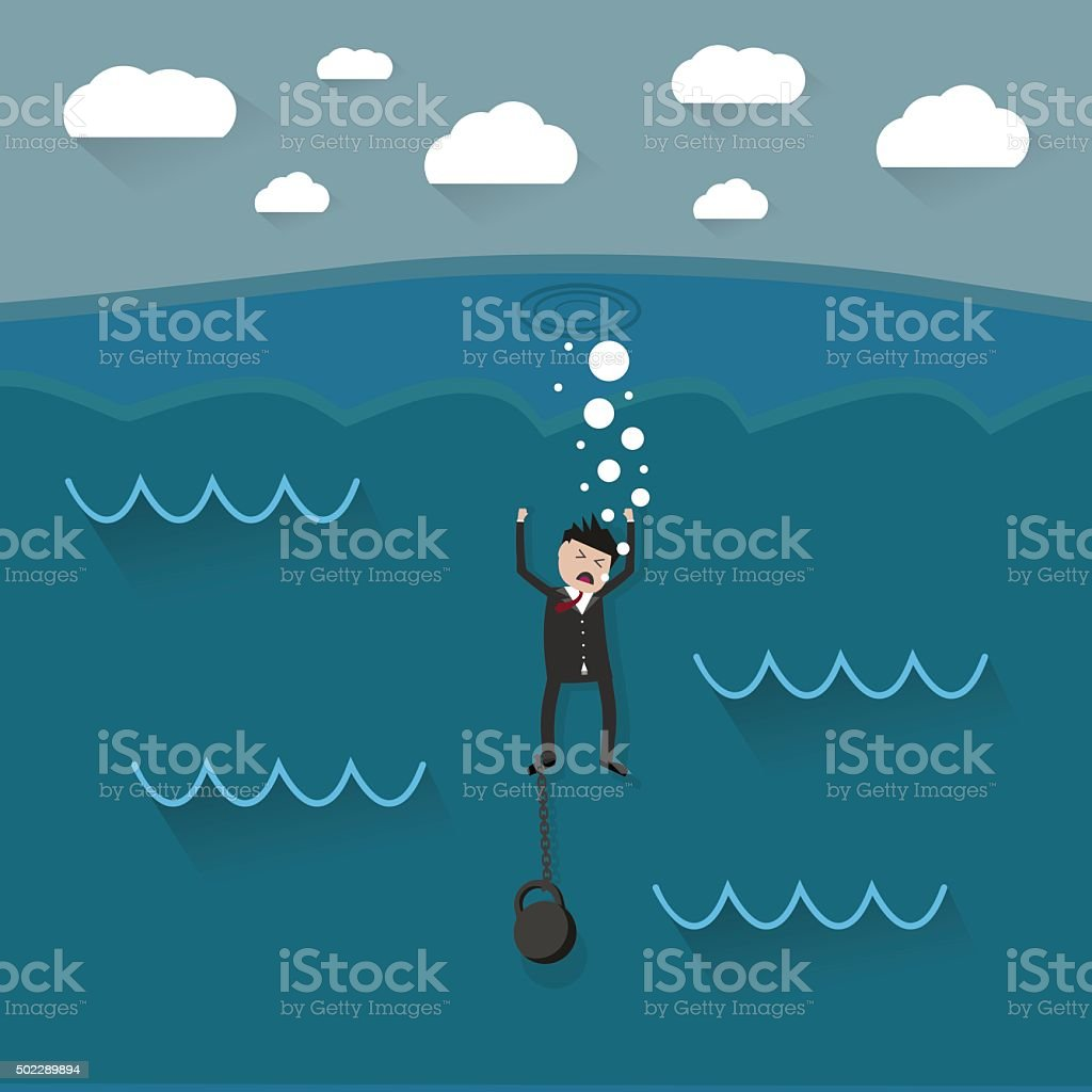cartoon drowning businessman vector art illustration
