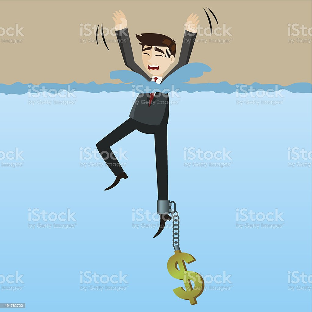 cartoon drowning businessman with money chain on his leg vector art illustration