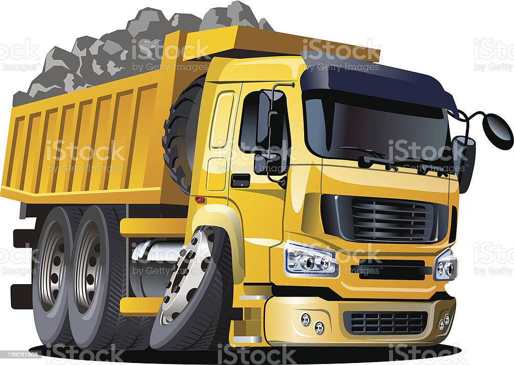 Cartoon dump truck royalty-free stock vector art