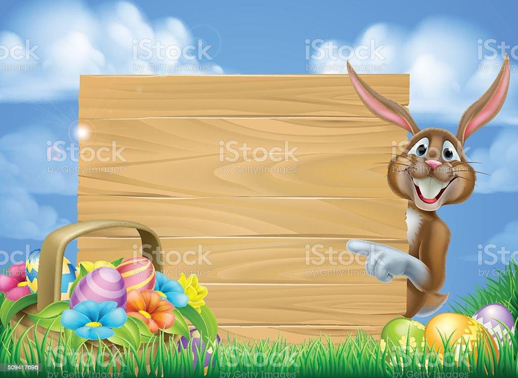 Cartoon Easter Bunny Sign vector art illustration