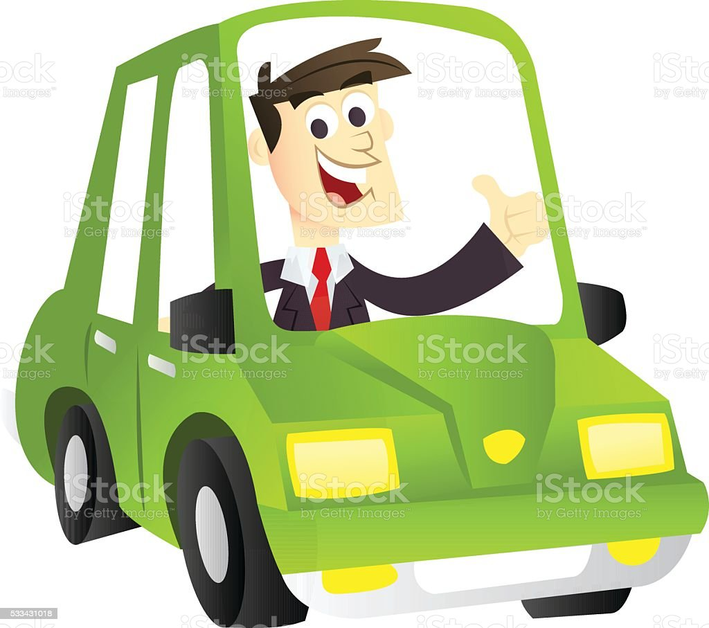 Cartoon Eco Driving Business Man vector art illustration