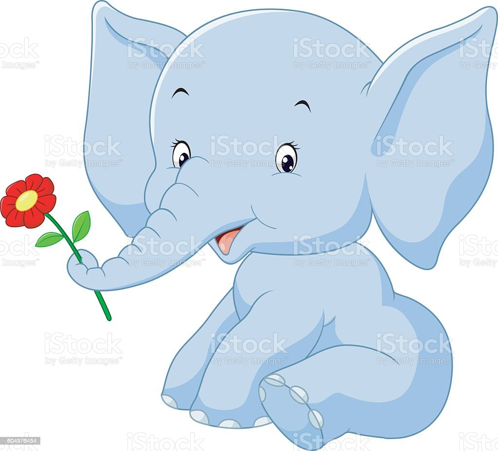 cartoon elephant holding flower stock vector art 604376454 istock