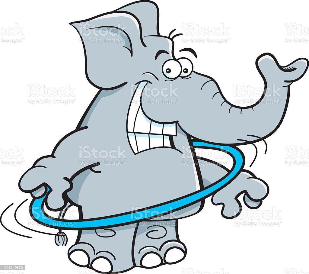 Cartoon elephant with a hoop. vector art illustration