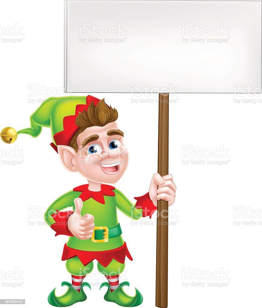 Cartoon Elf Sign vector art illustration