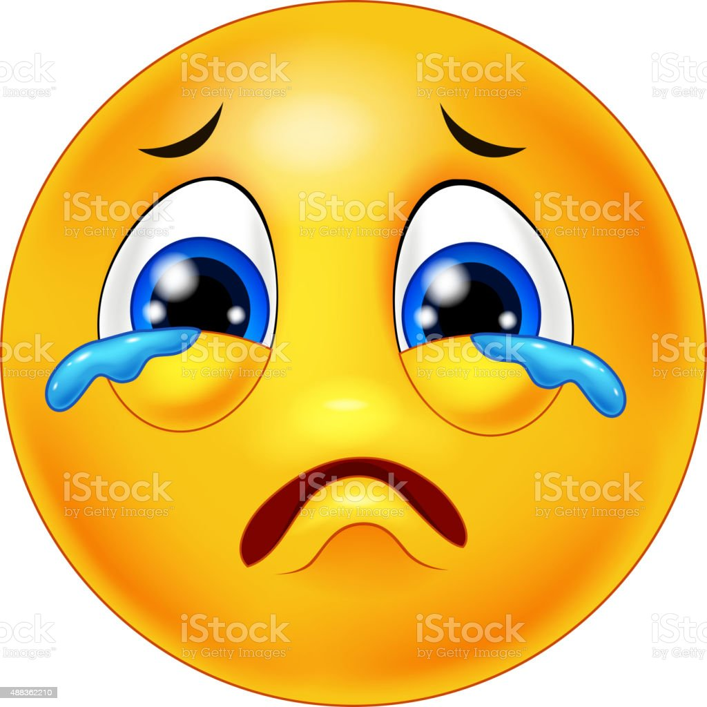 Cartoon emoticon crying vector art illustration
