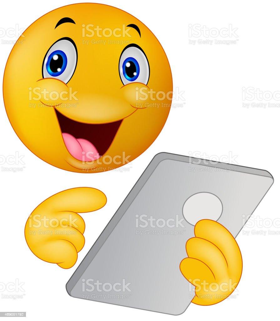 Cartoon Emoticon smiley using tablet vector art illustration