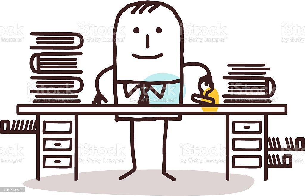 cartoon employee man working at his desk vector art illustration