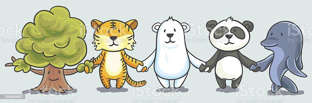 Cartoon Endangered animals illustration vector art illustration