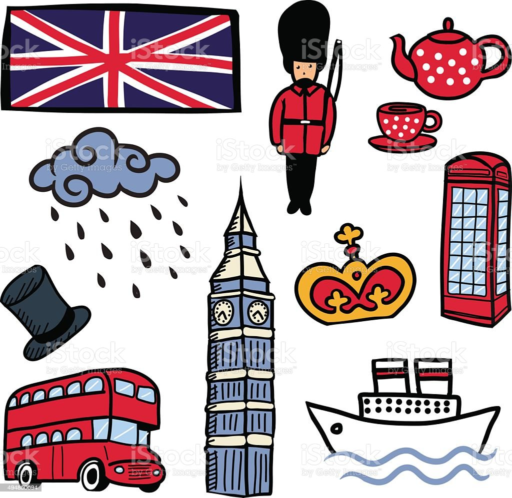 Cartoon England elements set on white background. vector art illustration