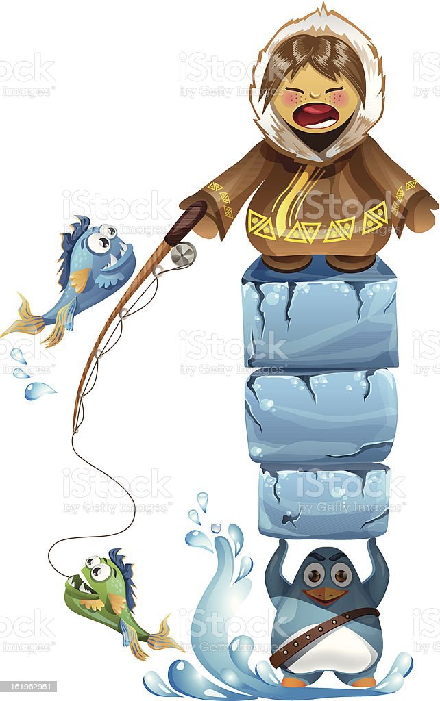 Cartoon eskimo fishing on the iceland royalty-free stock vector art