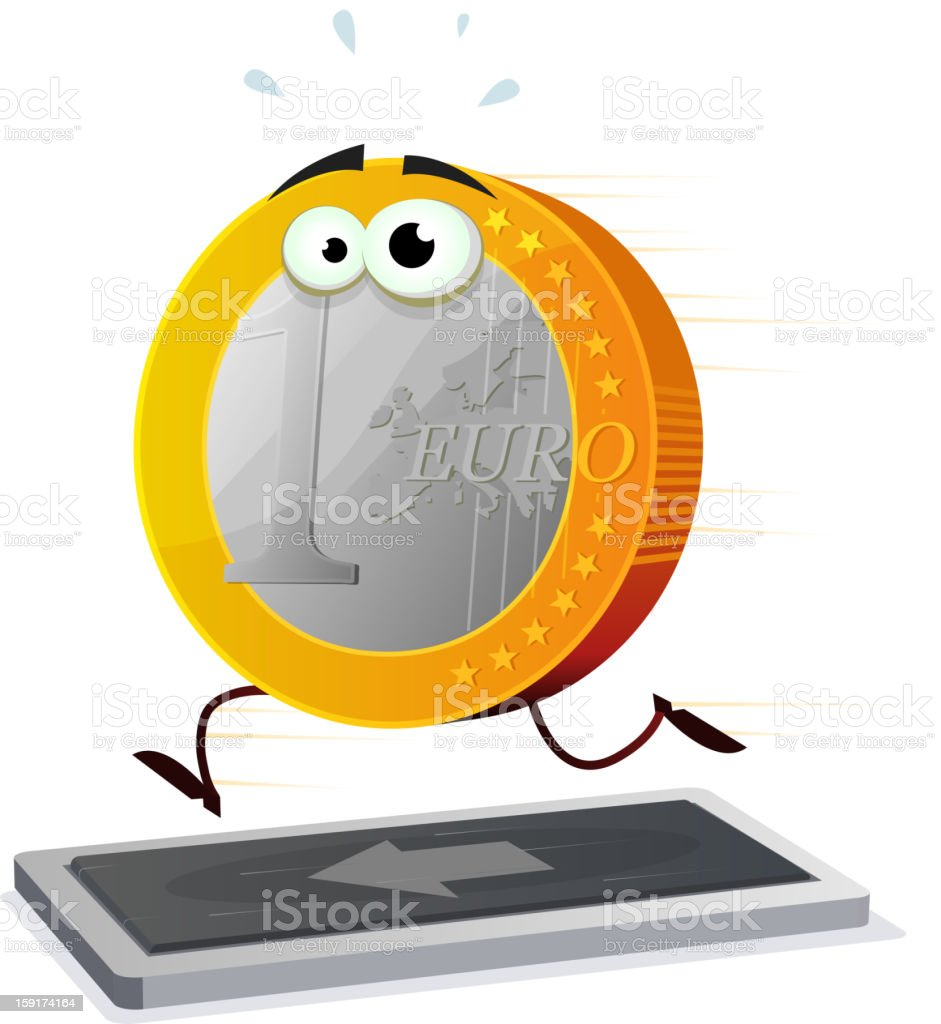 Cartoon Euro Running On A Treadmill royalty-free stock vector art