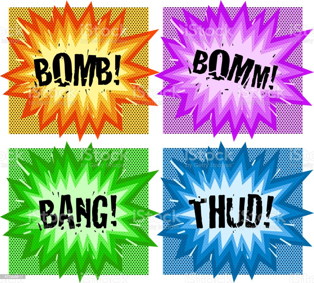 cartoon exploding set royalty-free stock vector art