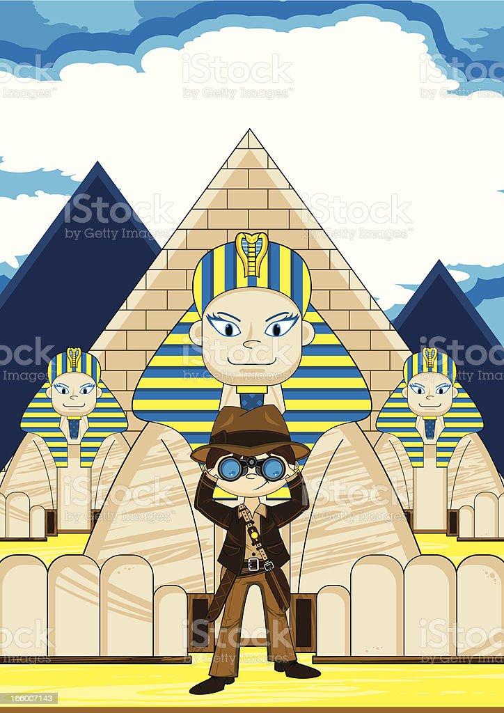 Cartoon Explorer and Egyptian Sphinx Scene royalty-free stock vector art