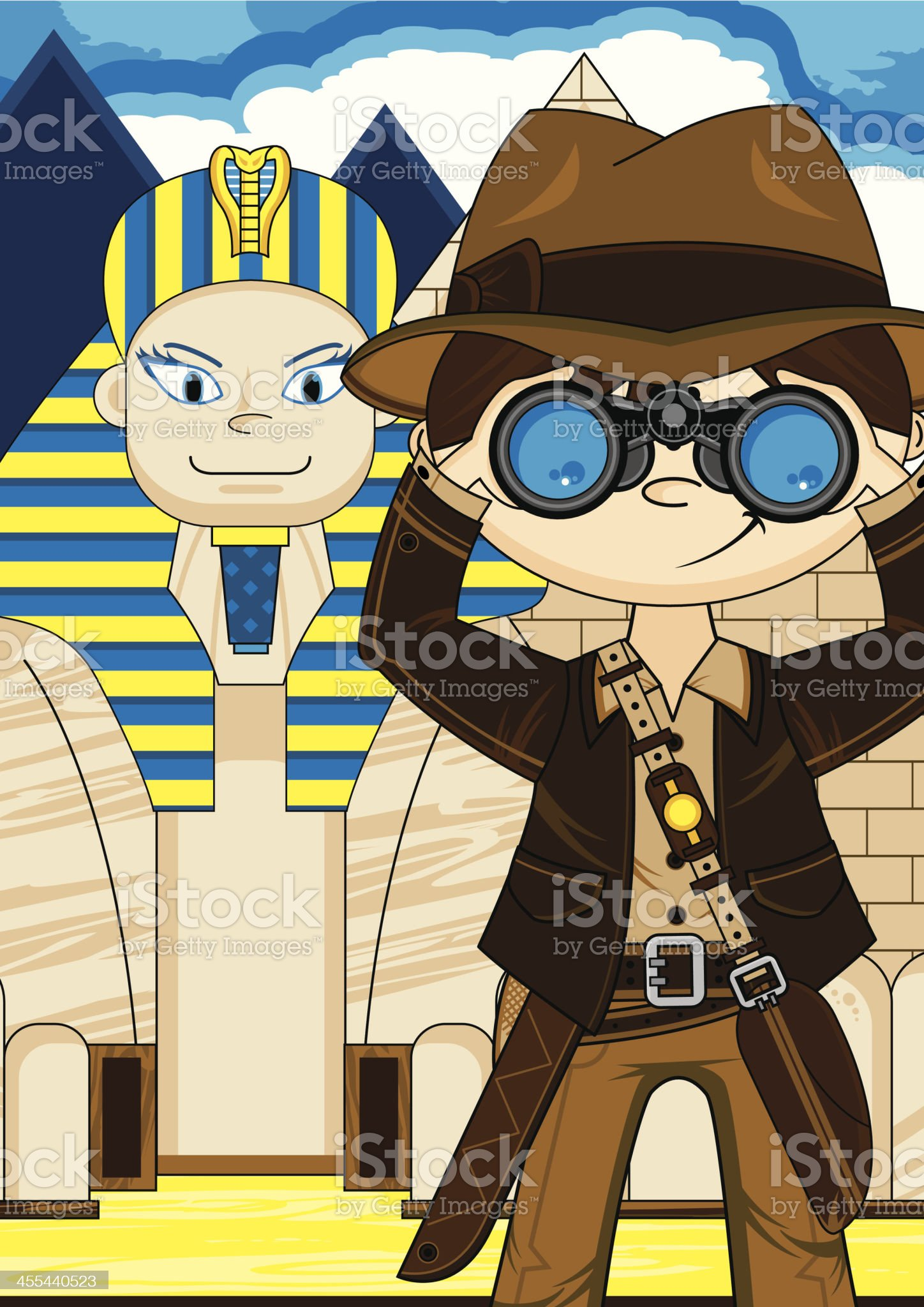 Cartoon Explorer and Egyptian Sphinx Scene royalty-free stock vector art