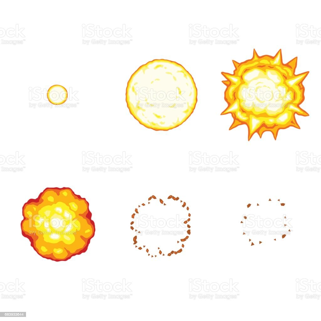 Cartoon explosion animation sprite isolated on white background vector art illustration
