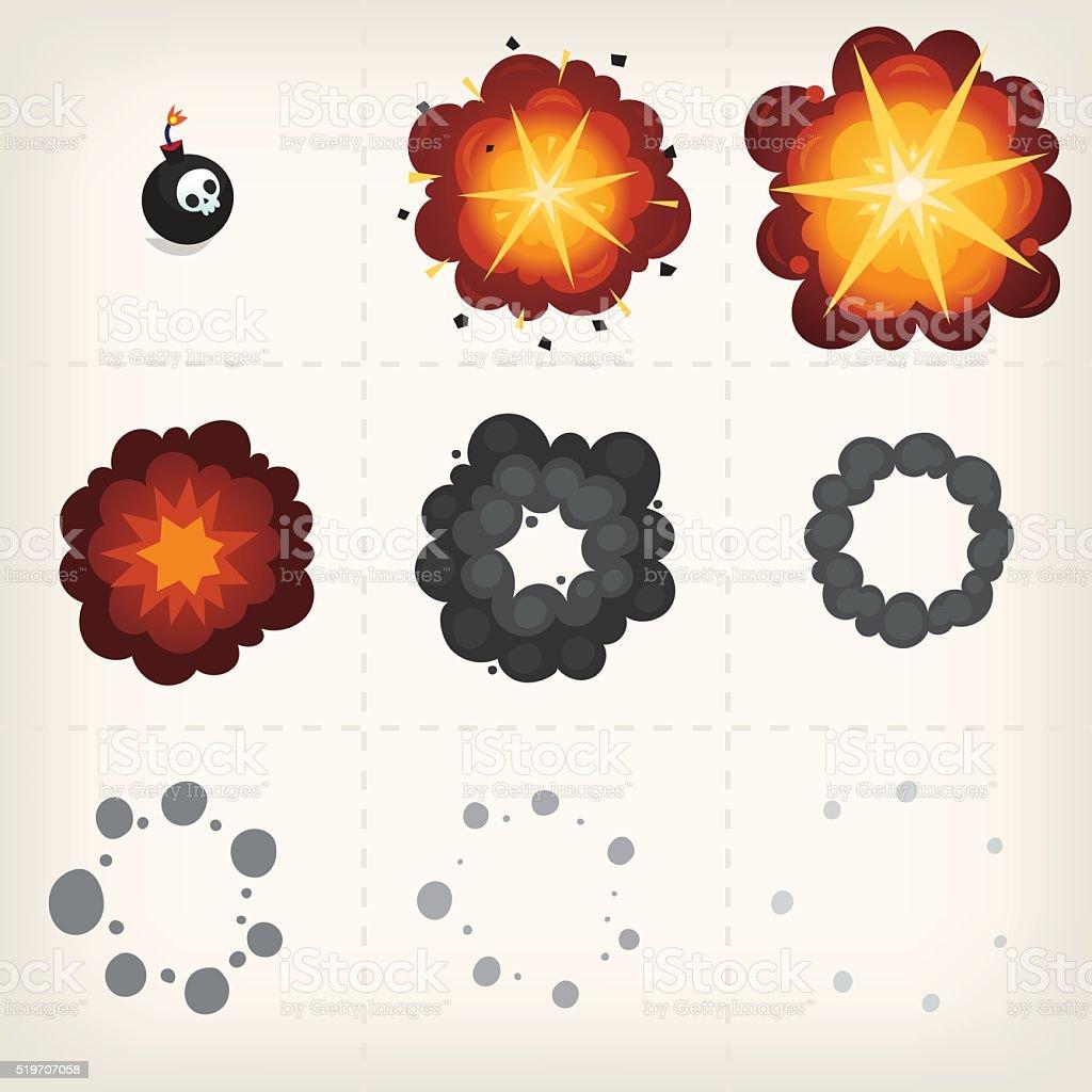 Cartoon explosion animation vector art illustration