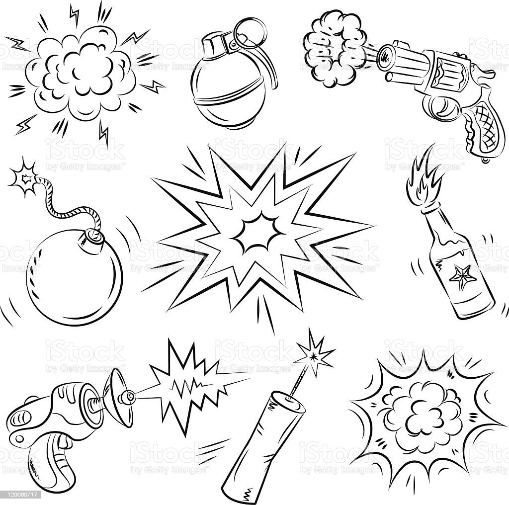 Cartoon Explosives and Weapon royalty-free stock vector art