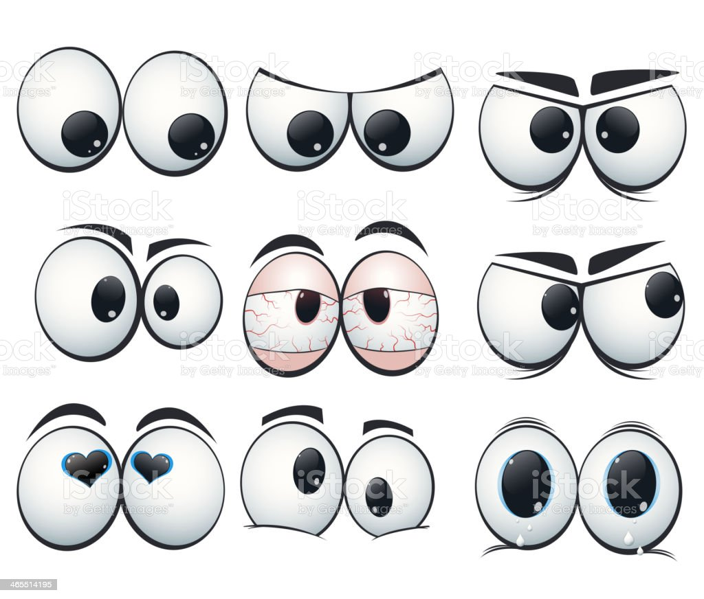 Cartoon expression eyes with different views vector art illustration
