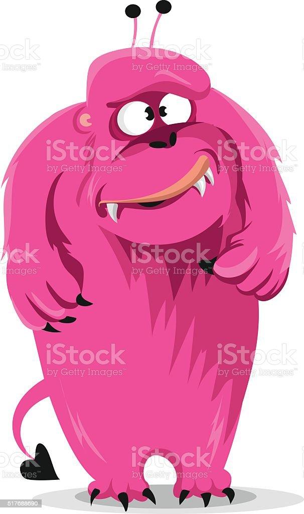 Cartoon expression  pink monster on white background. Vector illustration vector art illustration
