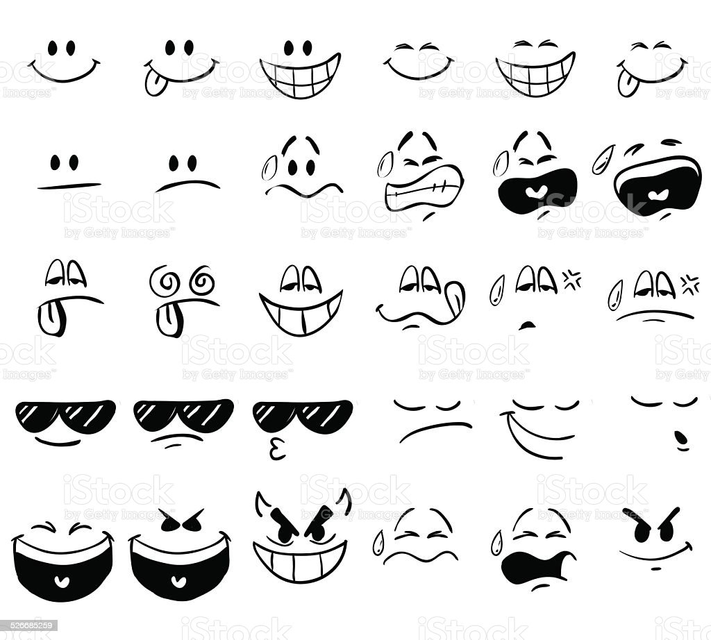 Cartoon Expressions vector art illustration