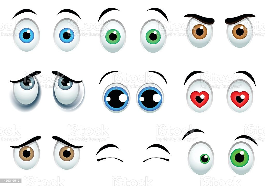 Cartoon eyes set vector art illustration