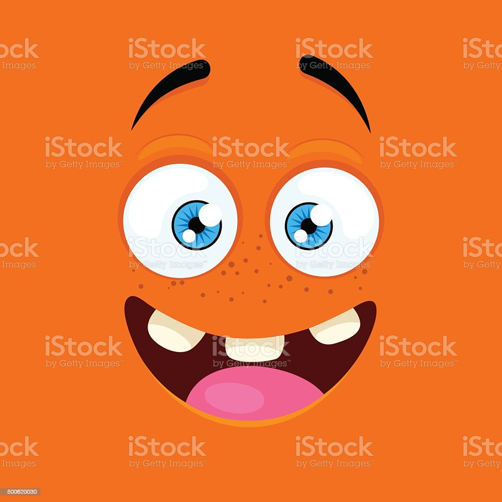 Cartoon face with an enthusiastic expression vector art illustration