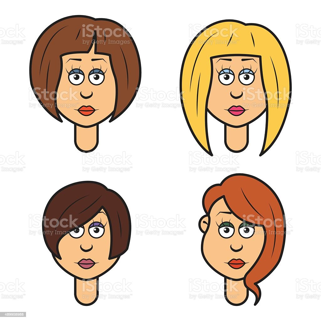 Cartoon faces of a woman vector art illustration