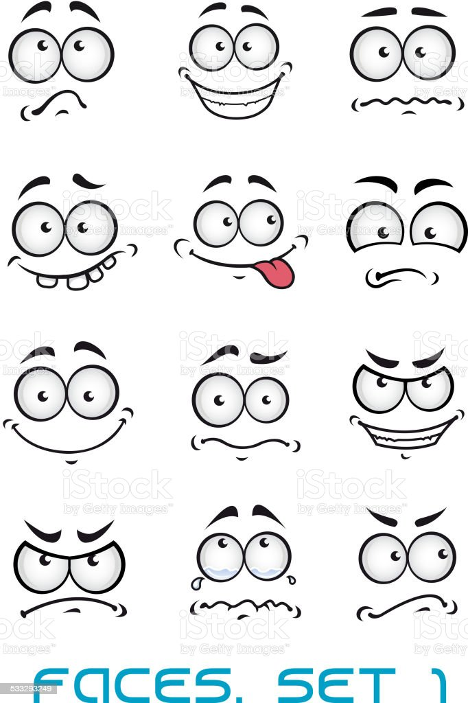 Cartoon faces with different emotions vector art illustration