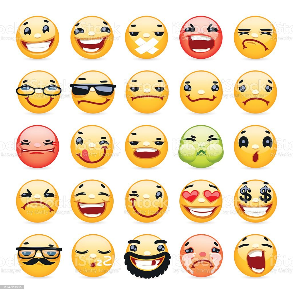 Cartoon Facial Expression Smile Icons Set vector art illustration