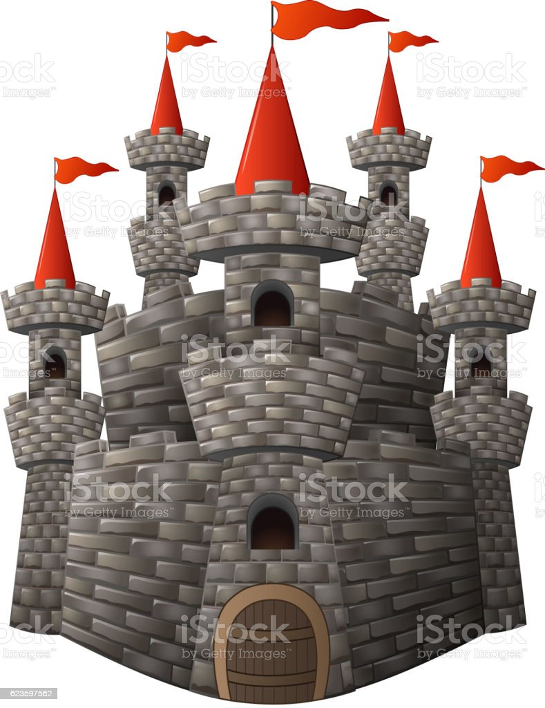 Cartoon fairy tale stone castle vector art illustration