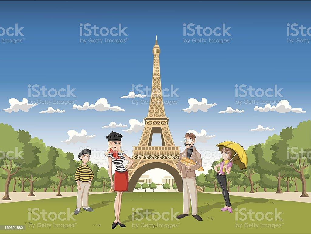 cartoon family in Paris royalty-free stock vector art