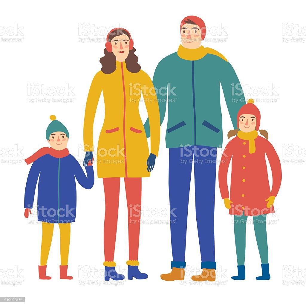 Cartoon family in winter clothes. vector art illustration