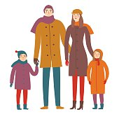 Cartoon family in winter clothes.