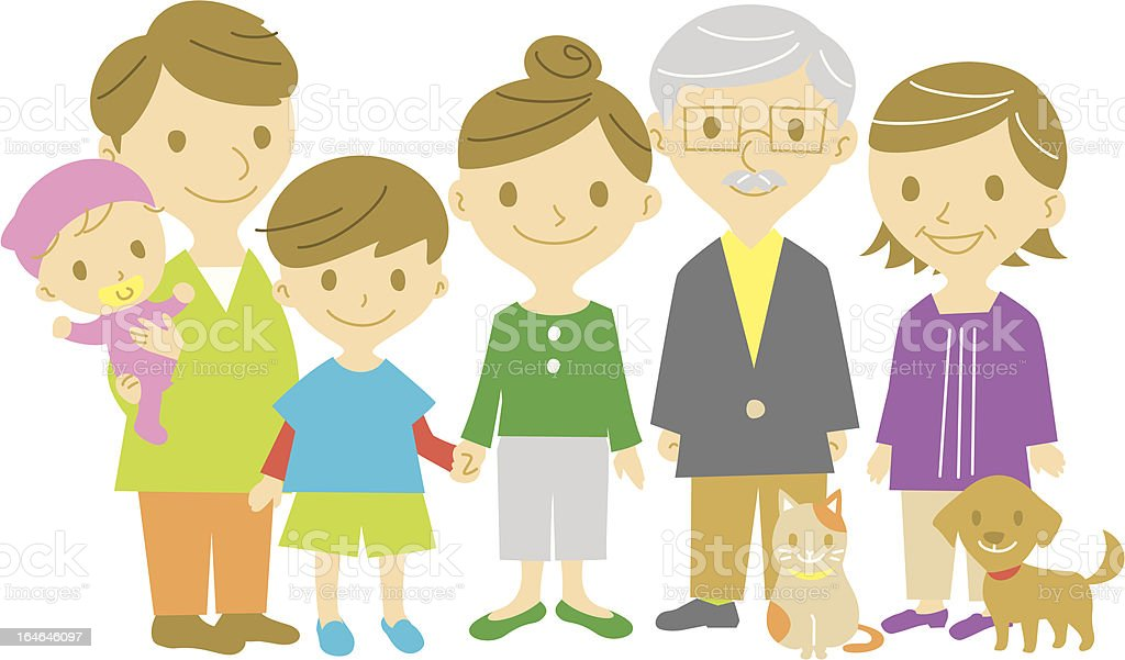 family of 6 with a and a cat stock vector