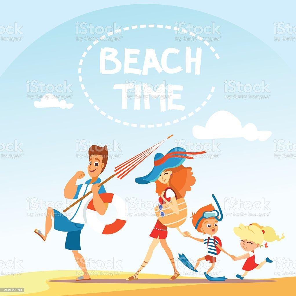 dessin de famille marchant sur la plage stock vecteur libres de