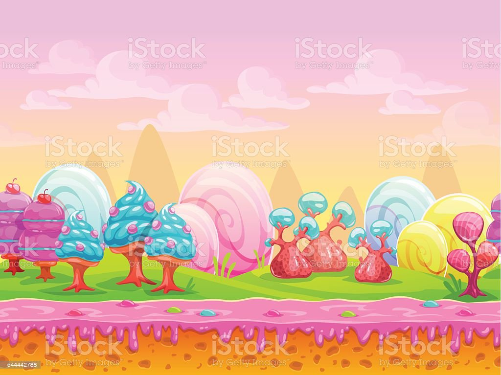 Cartoon fantasy candy land location vector art illustration