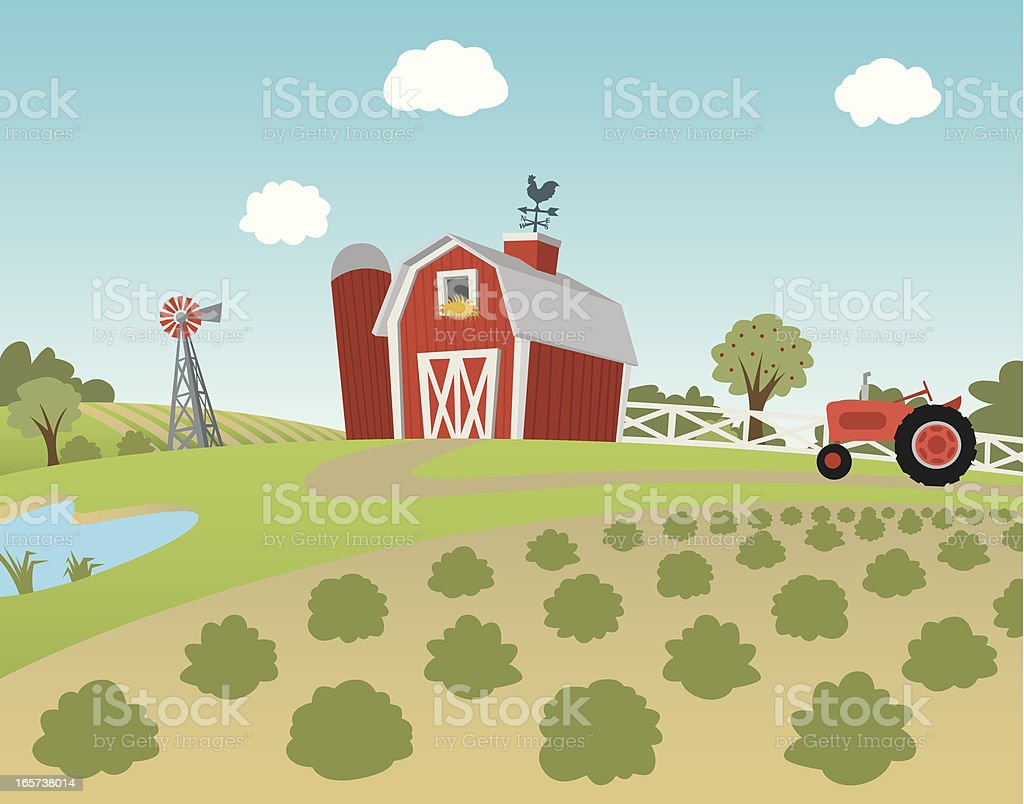 Cartoon farm landscape with fields and tractor vector art illustration