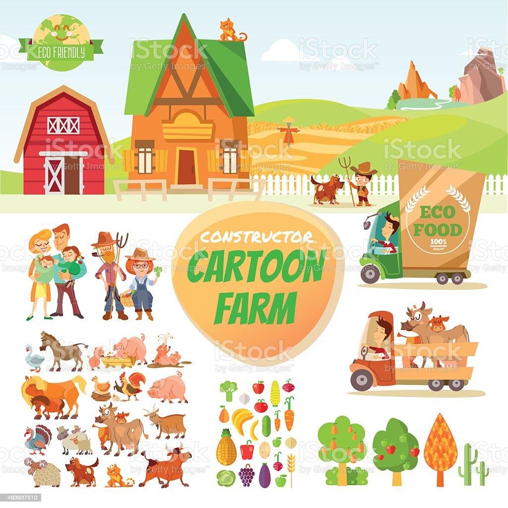 Cartoon farm set vector art illustration