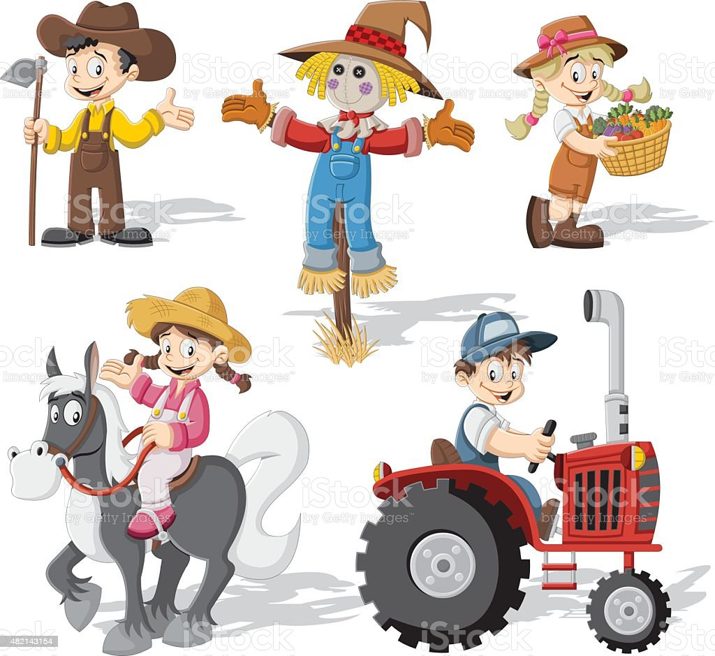 cartoon farmers working vector art illustration