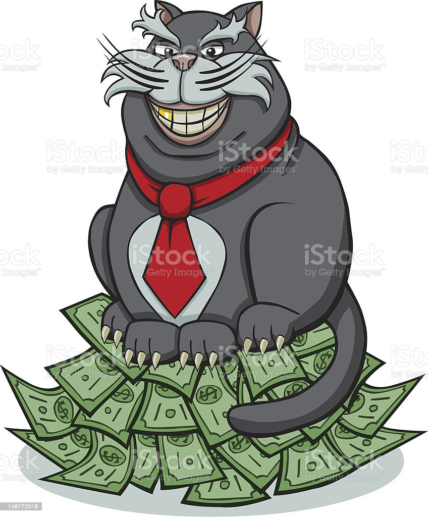 Cartoon Fat Cat Sitting on Pile of Cash vector art illustration