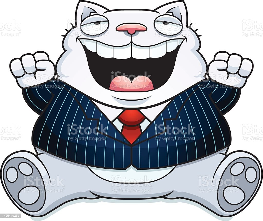 Cartoon Fat Cat Suit vector art illustration