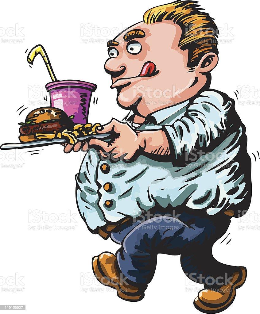 Cartoon fat man with fast food vector art illustration